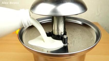 太会玩了! 绿色酸奶, 酸牛奶, 奶油和黄油喷泉