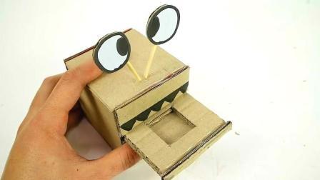 """创意手工DIY, 制作""""吃钱怪""""的方法, 适用于儿童玩具生日礼物"""
