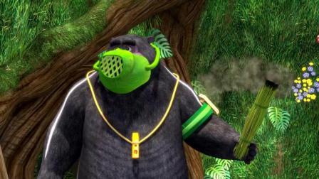 《熊出没》大黑熊老师挥舞着艾草棒, 几下就把蚊子全消灭了