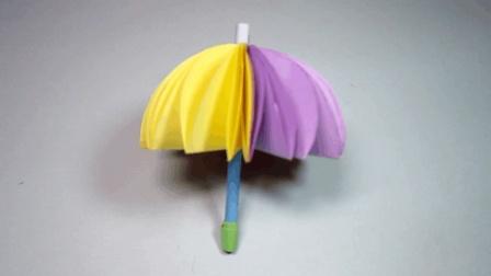 怎样折纸伞, 简单的彩虹雨伞折纸教程, DIY手工制作