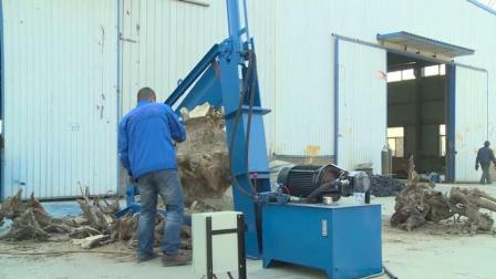 农村小伙发明劈木机, 坚持3年终于成功, 几十年大树根5秒切碎