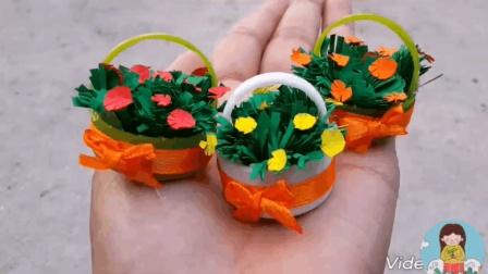 幼儿创意简单手工DIY, 用小瓶盖和彩纸制作一个花草盆栽