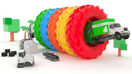 卡通益智玩具组装垃圾车穿过轮胎变颜色