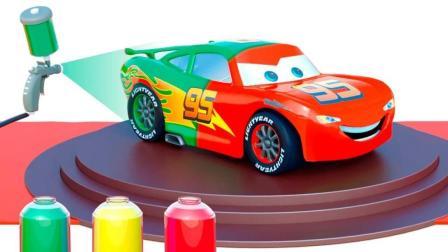 安装彩色的闪电麦昆开出车库