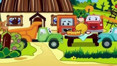 儿童玩具车动漫: 卡车吊车推土机在沙滩上建游乐场, 小卡车到山上摘水果做生日蛋糕