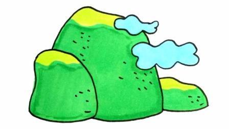 宝宝爱画画第157课 儿童简笔画山峰的画法, 手绘山峰卡通画视频, 幼儿绘画零基础入门教程
