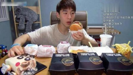 韩国大胃王奔驰小哥一顿饭吃10个汉堡和蛋糕, 再吃些薯条和可乐