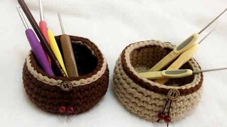 【小脚丫】圆形收纳筐毛线收纳筐的钩法一起学织毛线教程布条线毛线收纳筐编织花样集锦图解