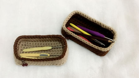 【小脚丫】长方形收纳筐毛线收纳筐的钩法一起学织毛线教程布条线毛线收纳筐