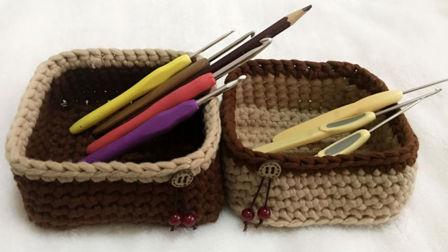 【小脚丫】正方形收纳筐毛线收纳筐的钩法一起学织毛线教程布条线毛线收纳筐平针花样大集合