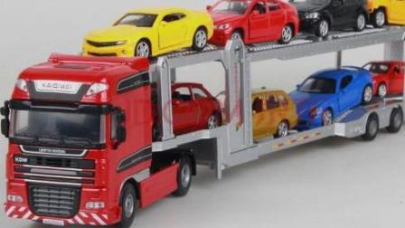 大卡车货运视频大全 儿童玩具车驾驶 闪电麦昆趣味小汽车 大卡车运小汽车2