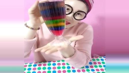 美食大姐做渐变色果冻, 十来种颜色好漂亮