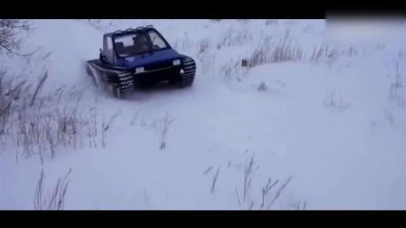 越野性能强悍! 牛人的自制履带雪地车