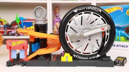 风火轮超级回旋轮胎店场景玩具开箱 风火轮怪兽入侵城市系列玩具分享