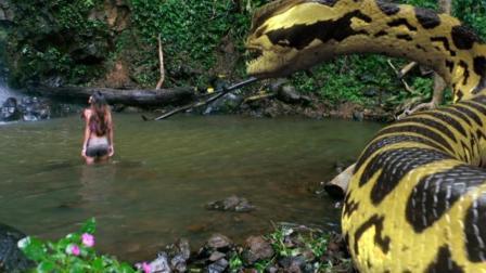 10米长的巨型蟒蛇袭击了在水中洗澡的少女, 一部刺激的恐怖电影