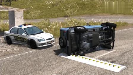 BeamNG: 汽车在高速公路冲过交警尖刺陷阱的后果~~~~~