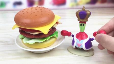 月采超Q食玩玩具 87 海绵宝宝蟹老板教大家做汉堡包 迷你厨房烘焙