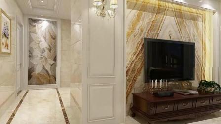 128平简欧客餐厅装修效果图, 大理石电视墙看着就大气