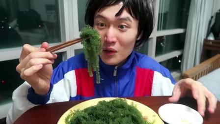 韩国小哥哥吃海葡萄, 嘎吱嘎吱的声音, 听着好有魔性