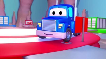 汽车城  下雨天, 哈维卡在农田里 呼叫超级卡车变身拖拉机动画片