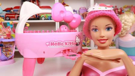 凯蒂猫编织机给芭比娃娃织毛线帽子 hellokitty手工玩具分享