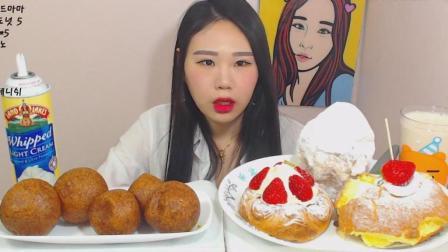 韩国大胃王卡妹吃生奶油面包和红豆面包圈