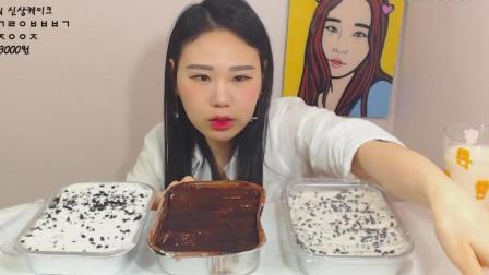 韩国大胃王卡妹狂吃3盒奶油蛋糕, 妹子真是超爱是蛋糕