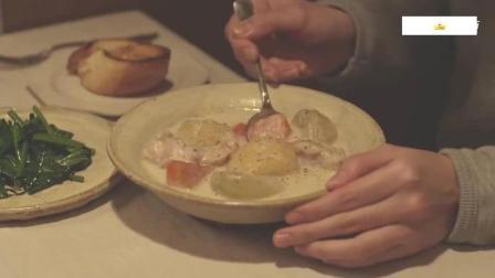《小森林_夏秋篇》治愈系美食 奶油炖菜和炒菠菜好吃的。