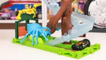 风火轮逃离蜘蛛公园场景玩具开箱 风火轮怪兽入侵城市系列玩具分享