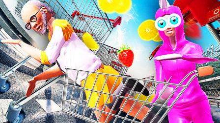 【屌德斯&小熙】 搞怪的人类 美少爷和熙独秀的超市购物车大乱斗!