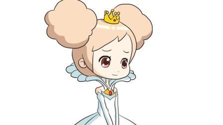 穿着公主裙子的可爱小女孩儿童亲子简笔画