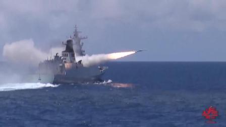 海上打击一口气射出几十枚导弹: 无论台海南海, 决不容许挑事闹事!