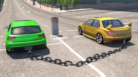 两辆汽车用铁链连起来, 全速冲过去, 接下来的一幕悲剧了