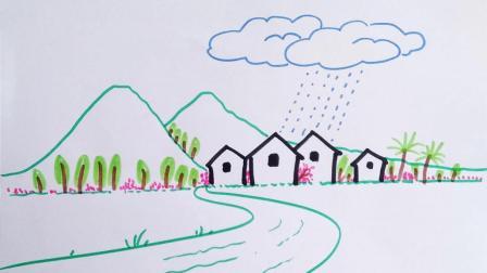 学画简笔画春天的小雨窦老师教画画