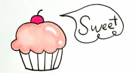 宝宝爱画画第164课 卡通甜品蛋糕绘画步骤, 彩色的蛋糕甜点简笔画, 儿童美术绘画教程大全
