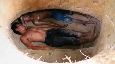 农村大哥没钱买房在山坡挖地下室, 困了休息一下, 躺在里面真凉快