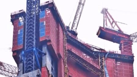 中国首创空中造楼机, 4天盖好一层楼, 100米大楼只需200天