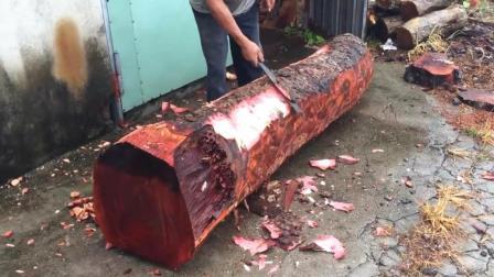 老师傅砍来一截上等木材, 3小时后就成了镇店之宝, 成品太漂亮