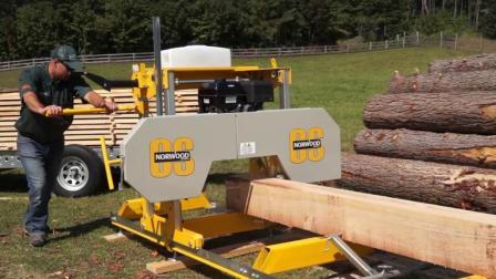 这是个神奇的机器, 一棵大树眨眼间就加工成了木板, 这效率真高!