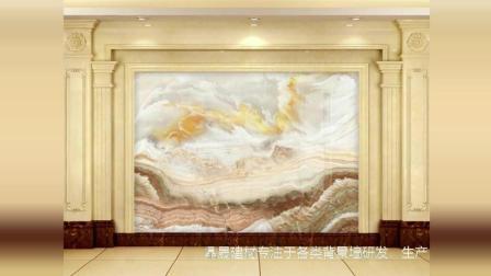 欧式罗马柱大理石纹电视背景墙实例