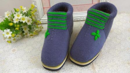 【手工织品】青花瓷2上集毛线鞋编织视频教程毛线刺绣4叶草花编织织法教程
