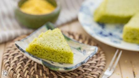 无蛋无糖无油, 还特别简单易做的 菠菜小米软发糕