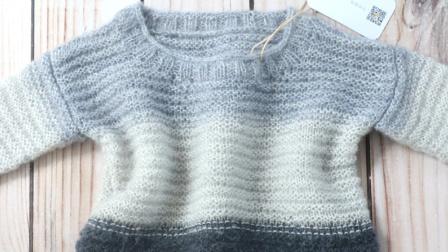 毛儿手作棒针编织马海毛三色套头毛衣毛线时尚编织