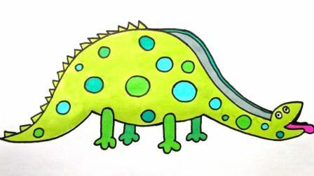 宝宝爱画画第168课 大块头恐龙滑梯绘画, 兔爷爷的恐龙滑梯, 手绘雷龙儿童画简笔画上色