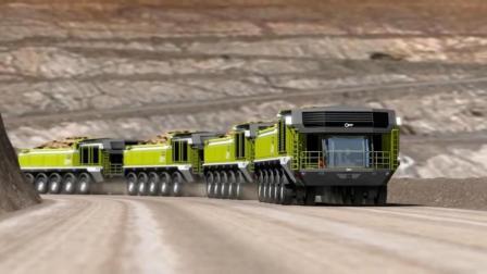 这重型卡车, 轮子能360度转弯, 需要时可连成火车