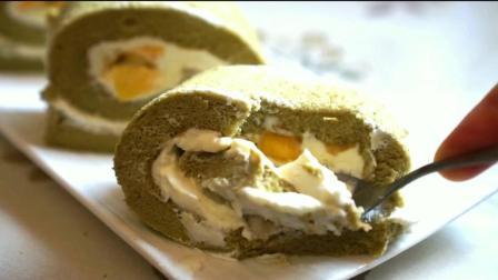 一食三刻: 抹茶海绵蛋糕卷的做法, 在家可以做的蛋糕哦!