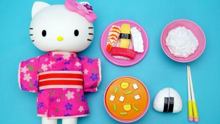 凯蒂猫穿漂亮的和服吃日式料理