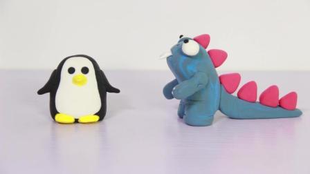 雯雯的手工课之彩泥世界企鹅与小怪兽的第一次相遇巨大喷嚏