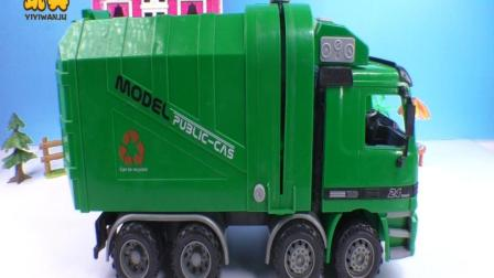 益智儿童绿色垃圾车工程车亲子视频_