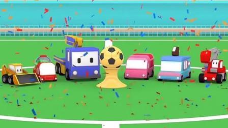 儿童工程车迷你建筑队: 起重机查理、推土机比利、挖掘机埃德加修建足球场进行足球比赛